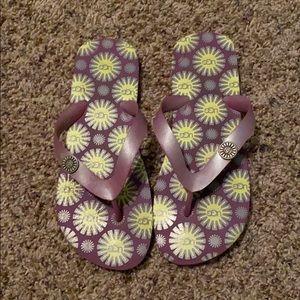 UGG Purple and Yellow Flip Flops